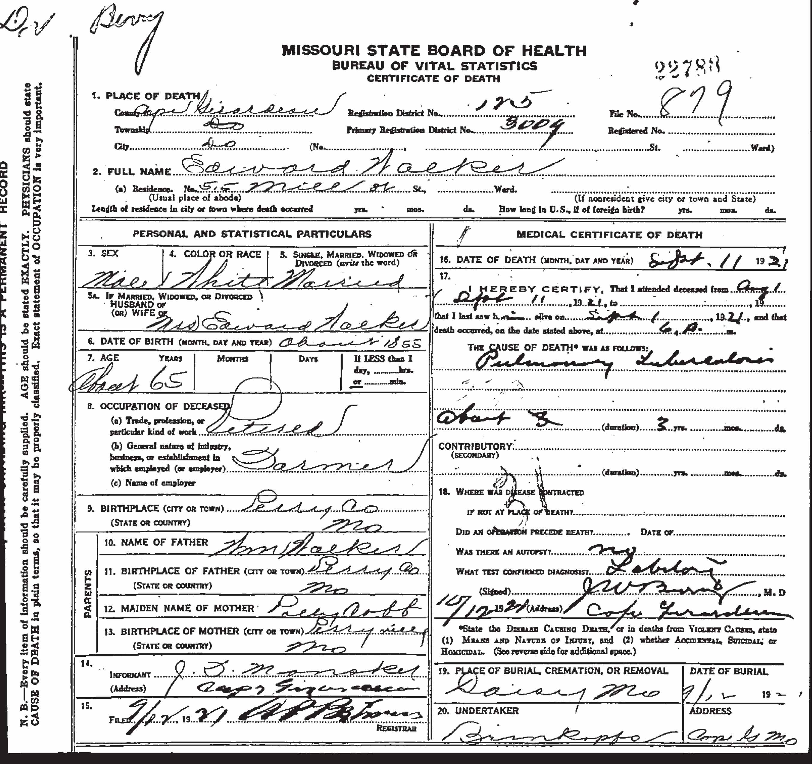 Edward jasper walker 1852 1921 find a grave memorial missouri death certificate aiddatafo Images