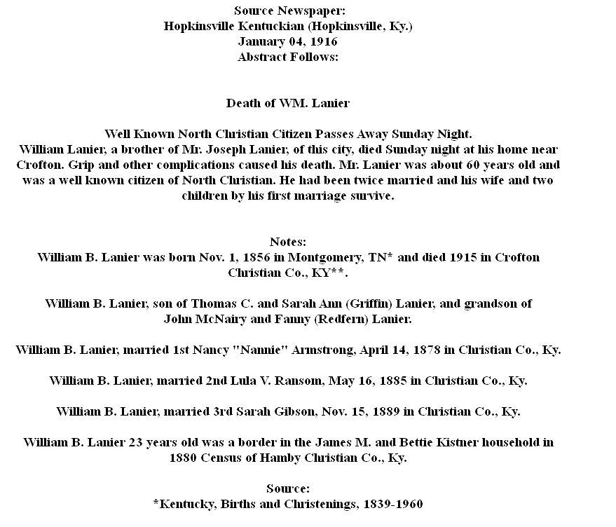 William B  Lanier (1857-1915) - Find A Grave Memorial