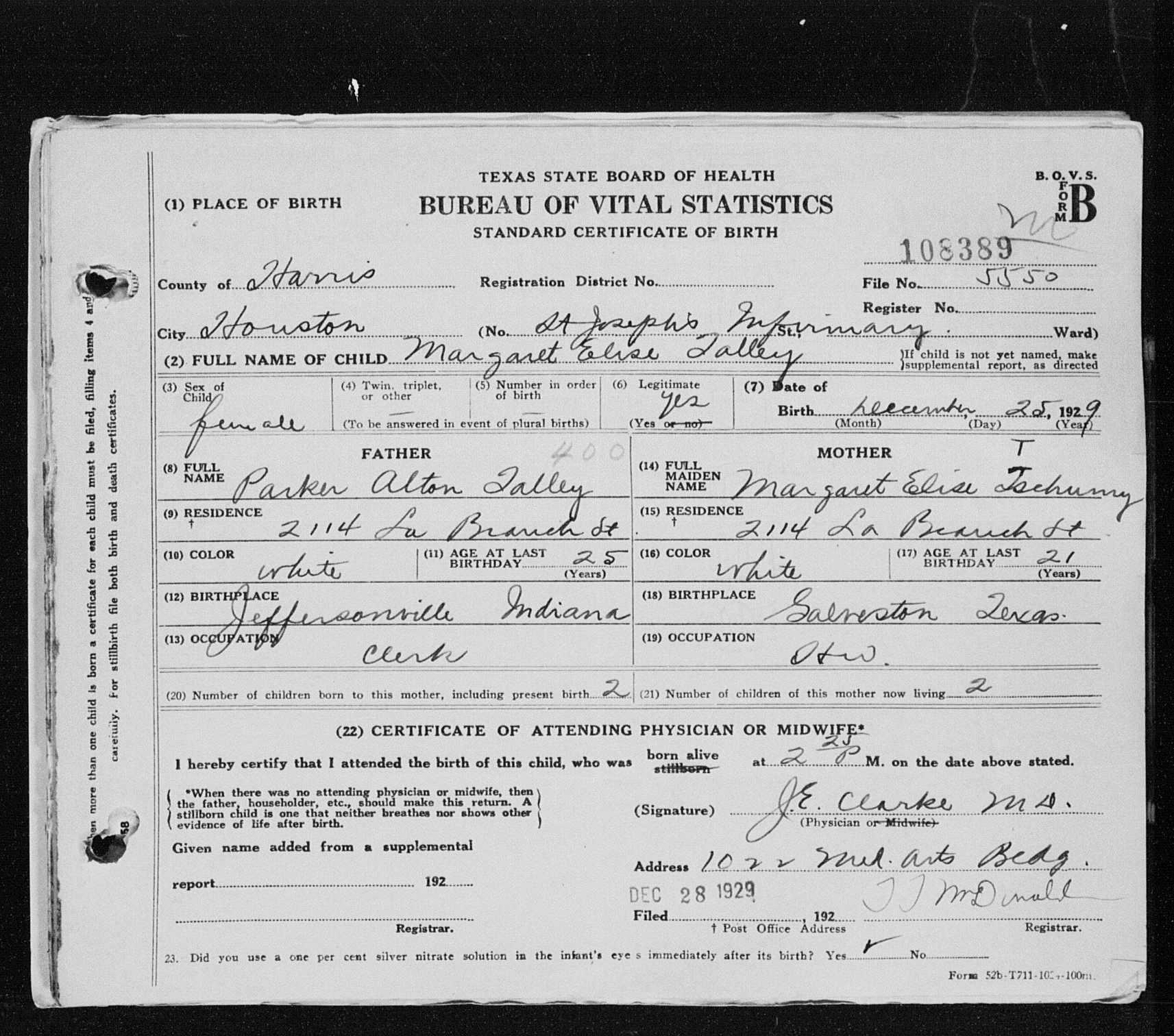 Parker alton talley jr 1938 1968 find a grave memorial tx birth certificate 108389 houston harris co tx aiddatafo Choice Image