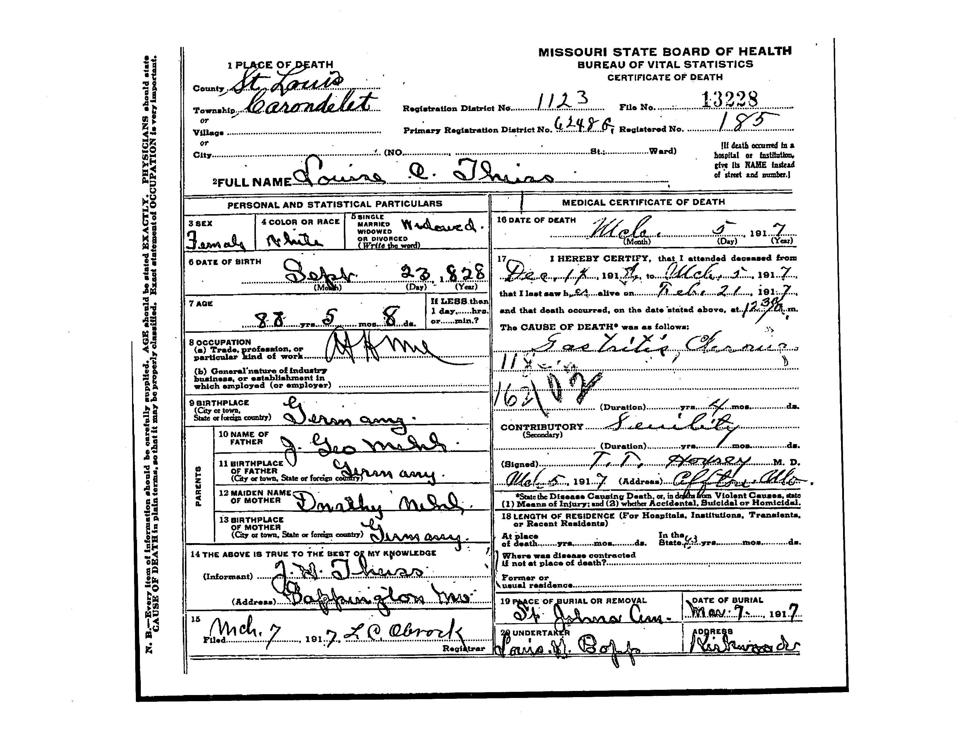 Louisa emma mehl theiss 1828 1917 find a grave memorial death certificate louisa emma theiss mehl birth 23 sep 1828 in nassau deggendorf bayern germany death 7 march 1917 in st louis st louis missouri 1betcityfo Choice Image