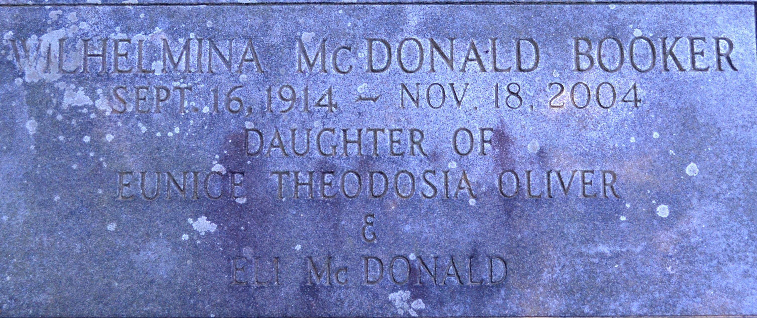 Wilhelmina <i>McDonald</i> Booker