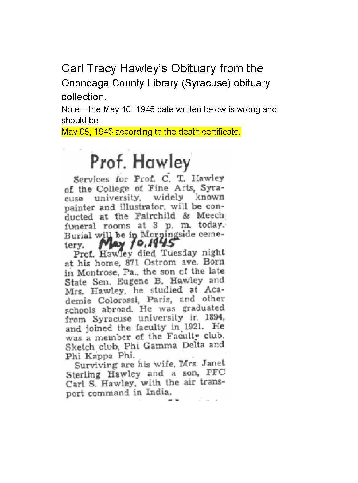 Carl tracy hawley 1873 1945 find a grave memorial carl tracy hawleys obituary from the onondaga county library syracuse obituary collection aiddatafo Gallery