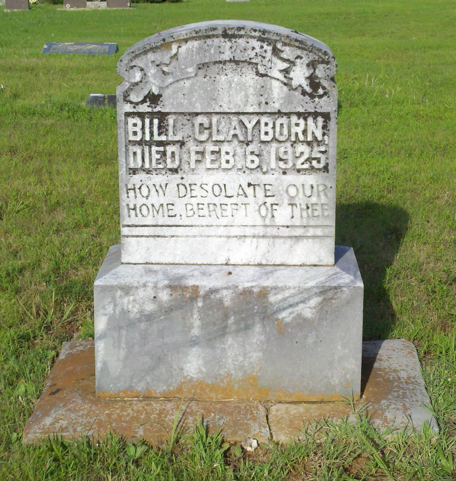 William u201cbillu201d clayborn 1900 1925 find a grave memorial