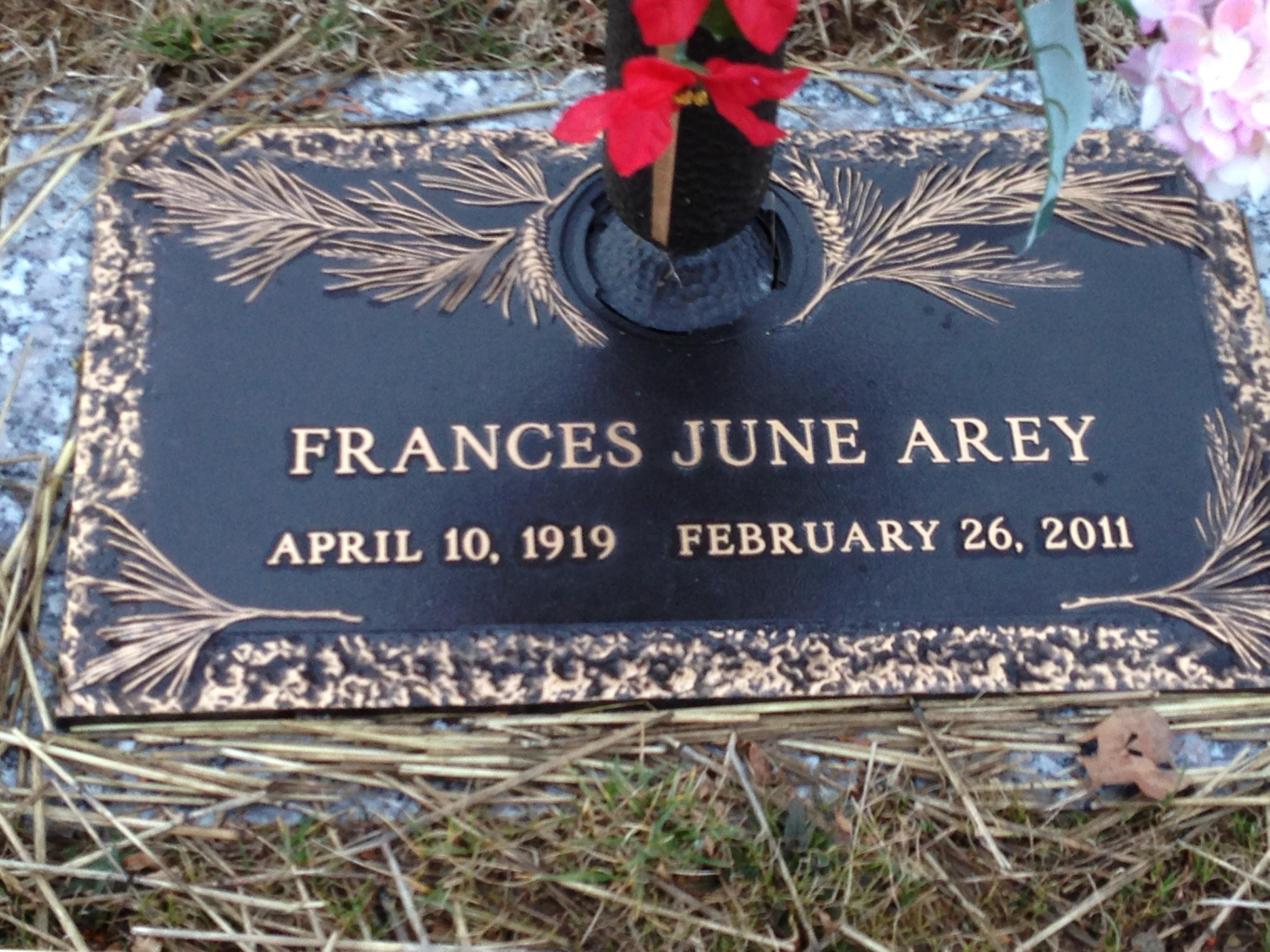 Frances June <i>Higginbotham</i> Arey