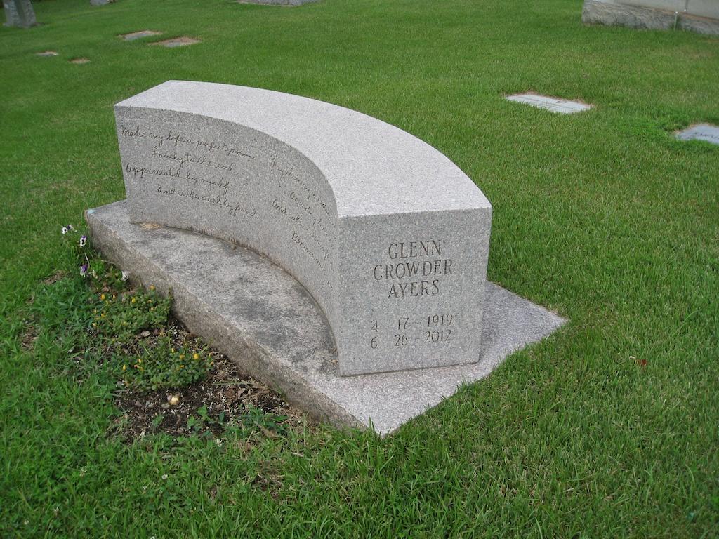Photo Of Glenn Ayers Grave Marker. Pleasant Garden United Methodist Church,  Pleasant Garden, NC. Photograph Taken 25 July 2014.
