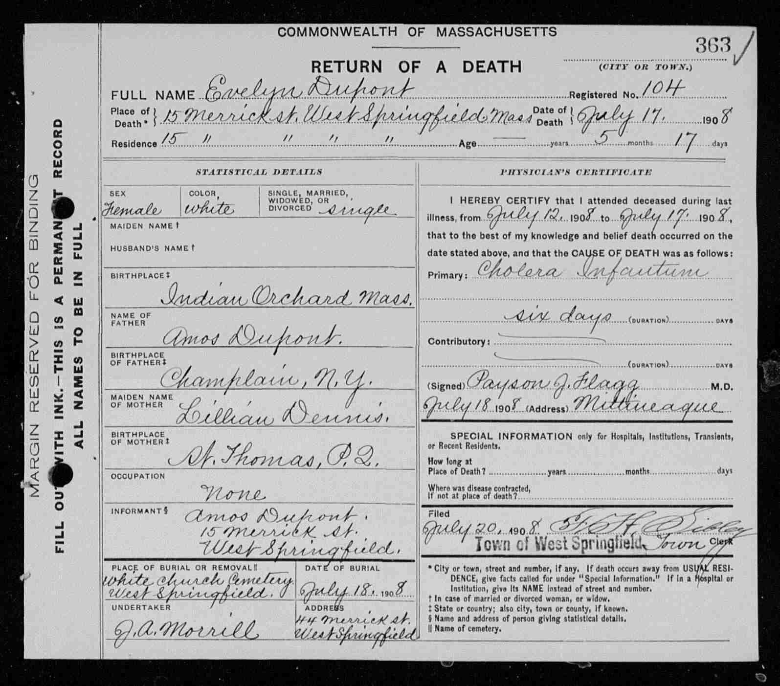 Evelyn anna dupont 1908 1908 find a grave memorial death certificate for evelyn dupont aiddatafo Image collections