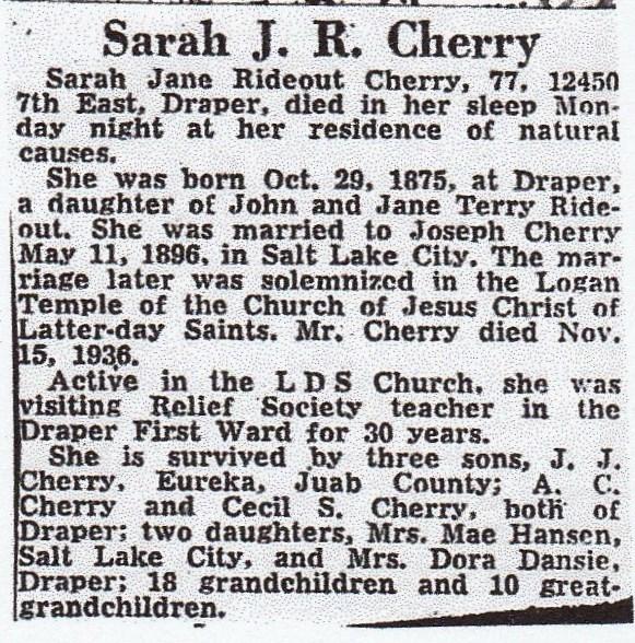 Sarah Jane Jennie <i>Rideout</i> Cherry