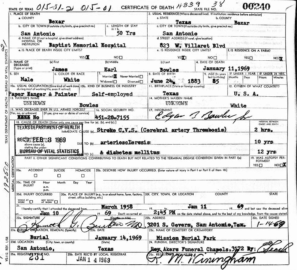 James Earl Bowles Sr 1883 1969 Find A Grave Memorial
