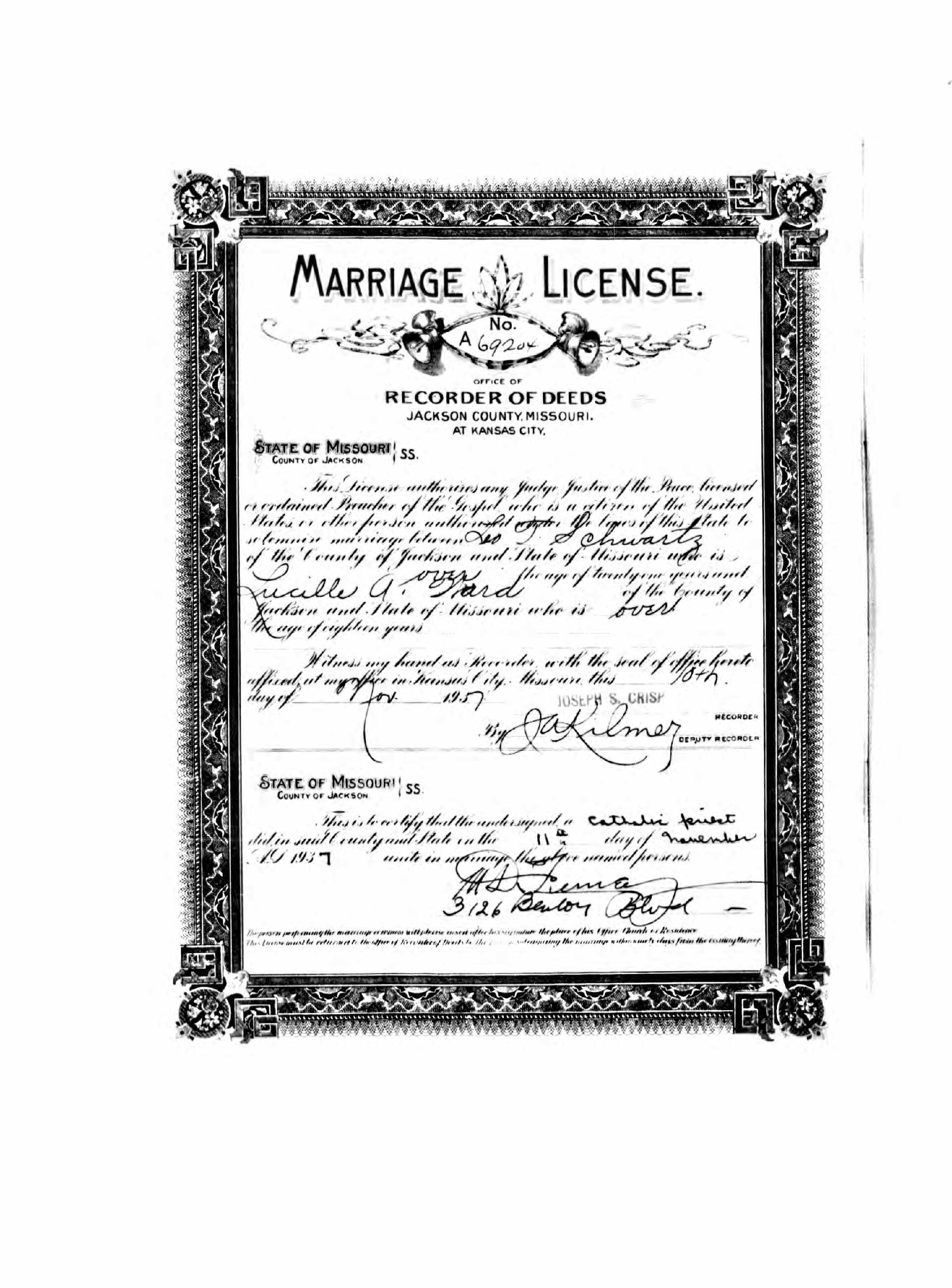 Leo t schwartz 1902 1988 find a grave memorial the certificate of leos marriage to lucille a ward on november 11 1937 in jackson county missouri aiddatafo Choice Image