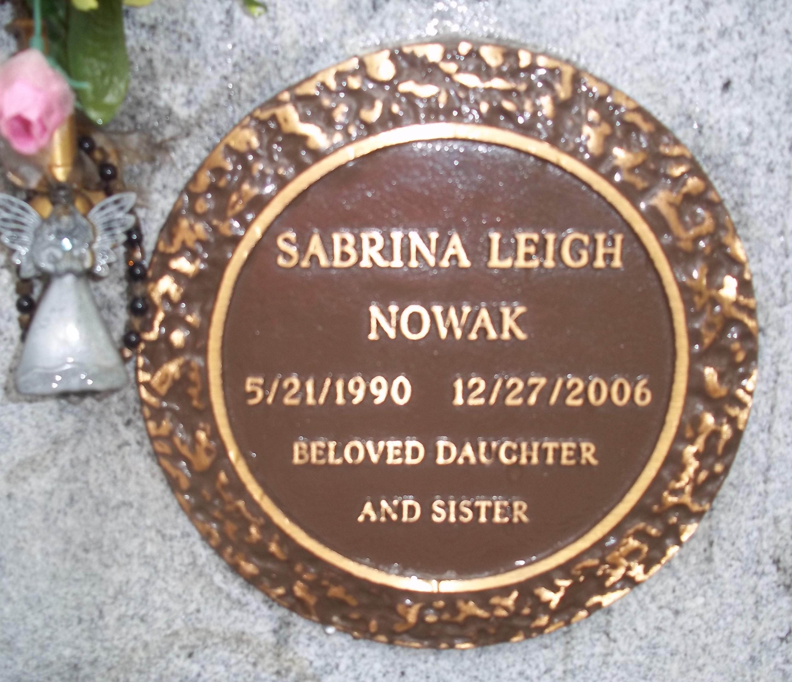 Sabrina Leigh Nowak (1990-2006) - Find A Grave Memorial