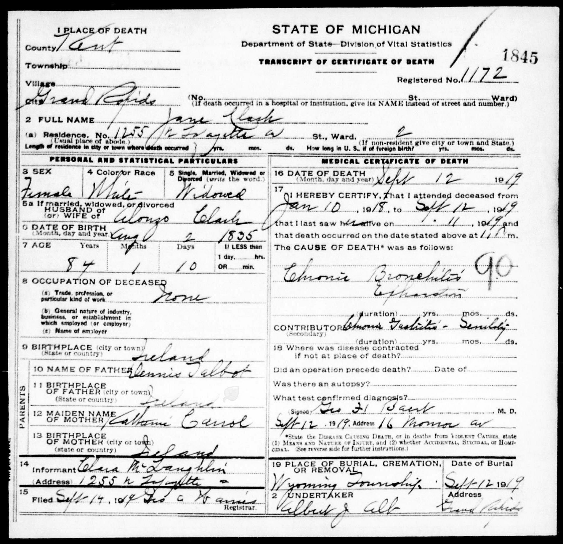 Jane elizabeth talbot clark 1835 1919 find a grave memorial death certificate of jane clark died 12 september 1919 at 1255 lafayette ave grand rapids 2nd ward kent county michigan death certificate found at xflitez Image collections
