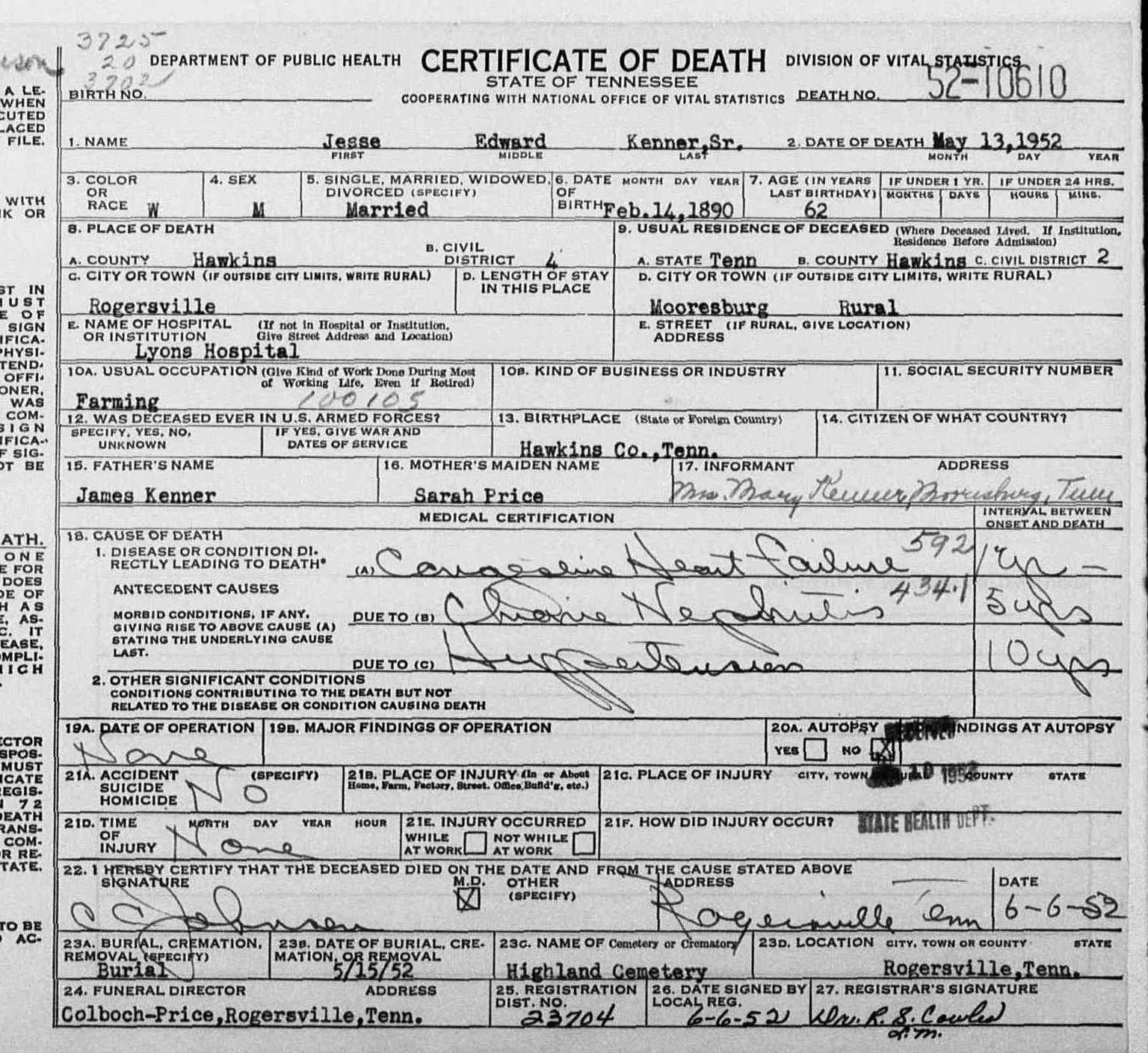 Jesse edward kenner sr 1890 1952 find a grave memorial jesse edward kenner sr tennessee death certificate 1betcityfo Images