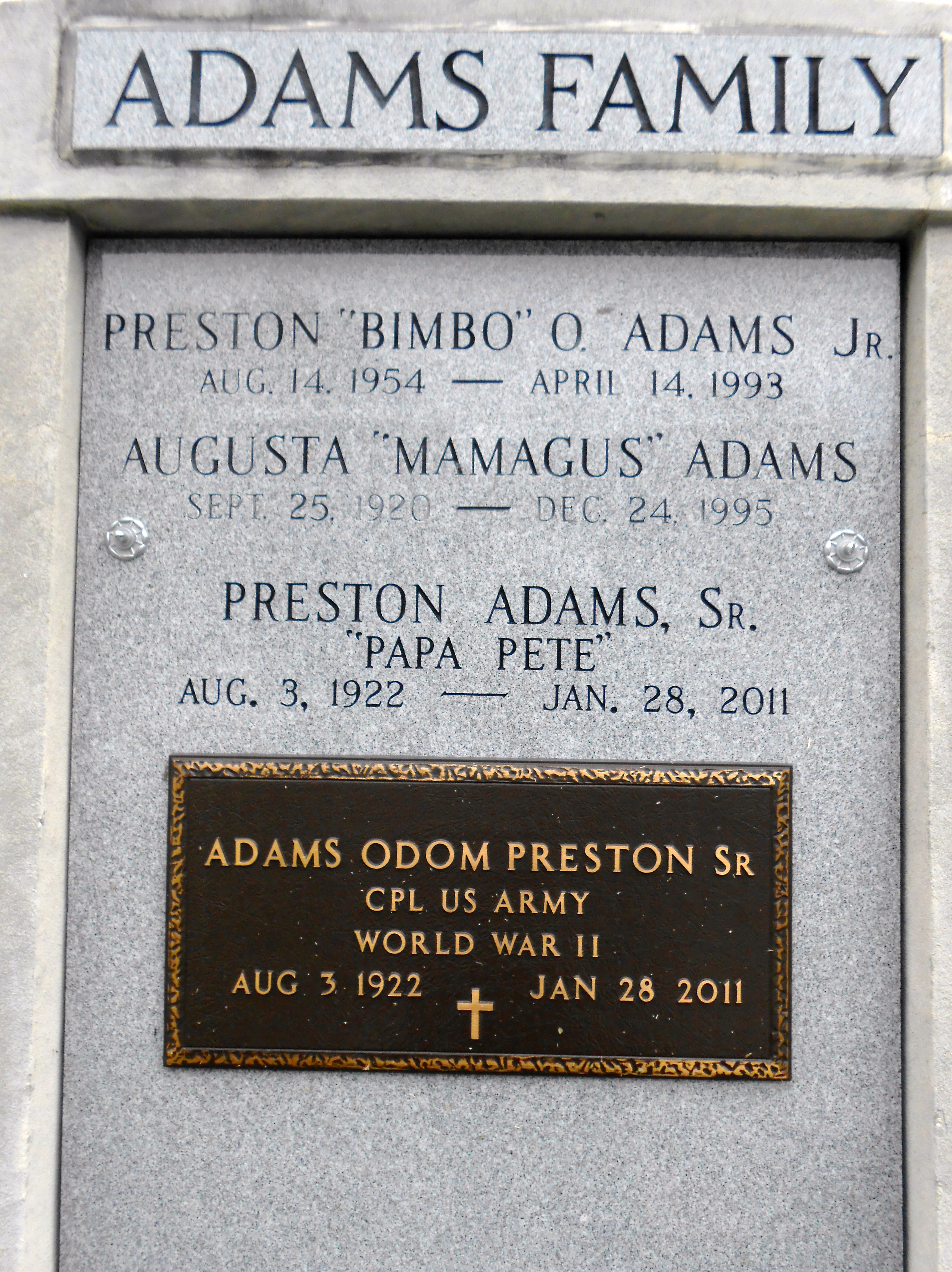 Augusta MaMaGus <i>Terrebonne</i> Adams