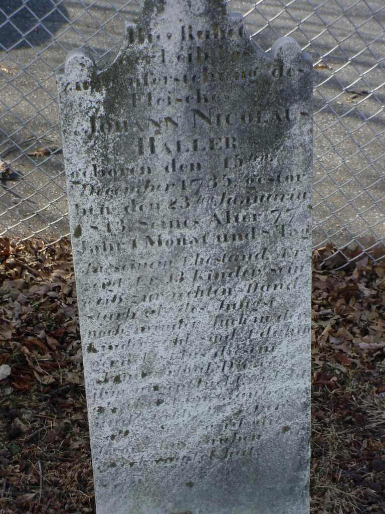 Johann Nicholas Haller 1735 1813 Find A Grave Memorial
