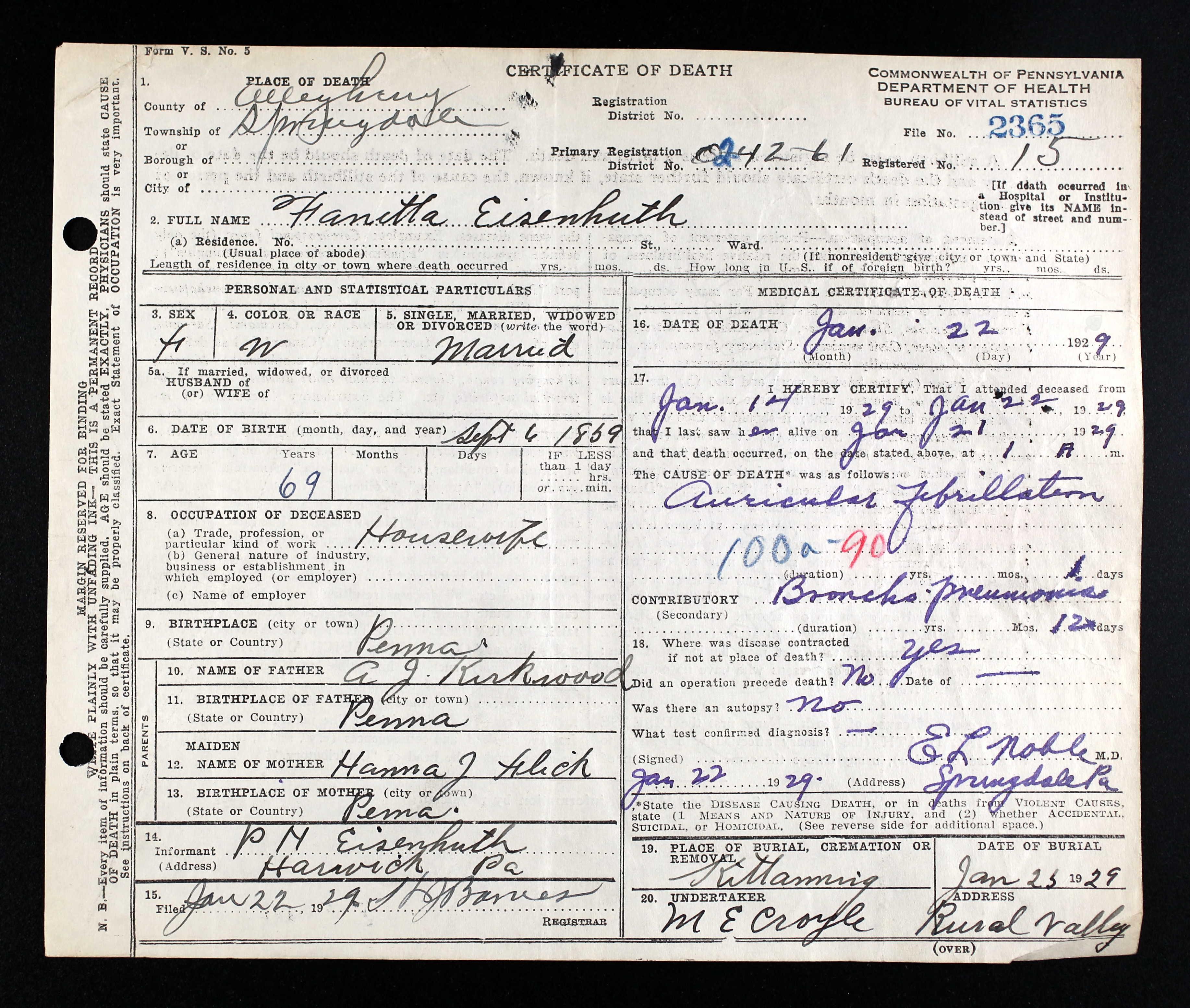 Fanetta v kirkwood eisenhuth 1859 1929 find a grave memorial death certificate public record xflitez Choice Image