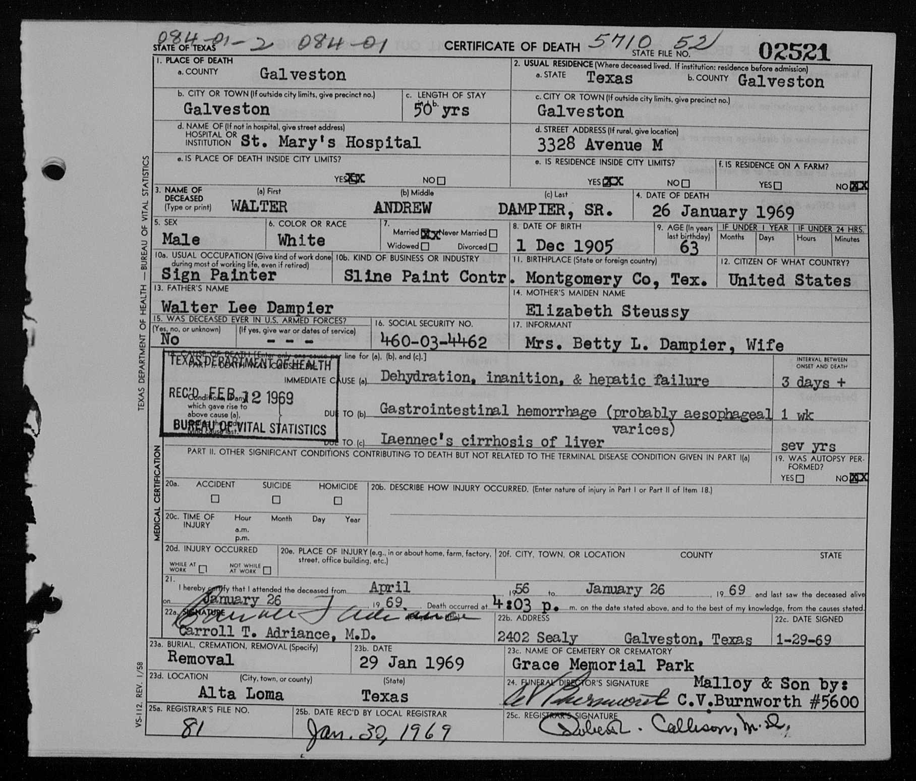 Walter andrew dampier sr 1905 1969 find a grave memorial walter andrew dampier sr death certificate aiddatafo Choice Image