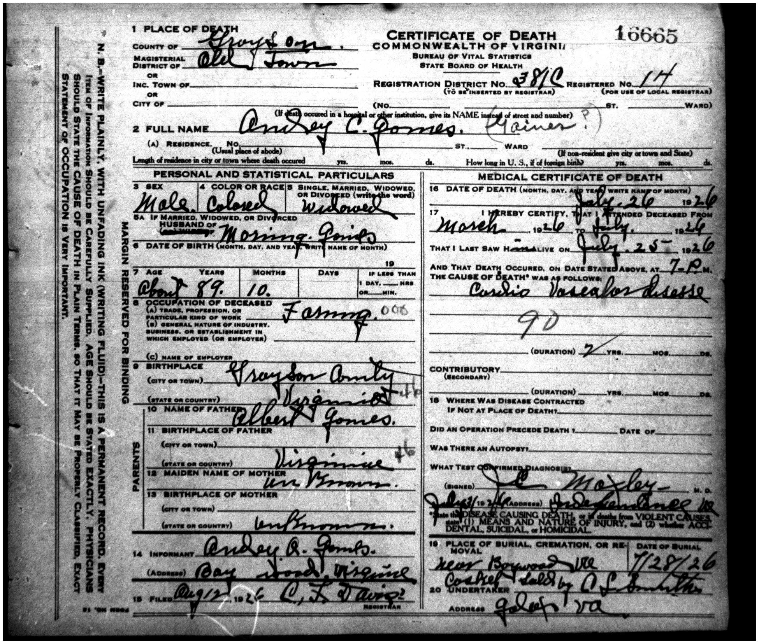 Andrew c andy goins 1837 1926 find a grave memorial 1926 virginia death certificate for andrew c goins from the library of virginia richmond va aiddatafo Images