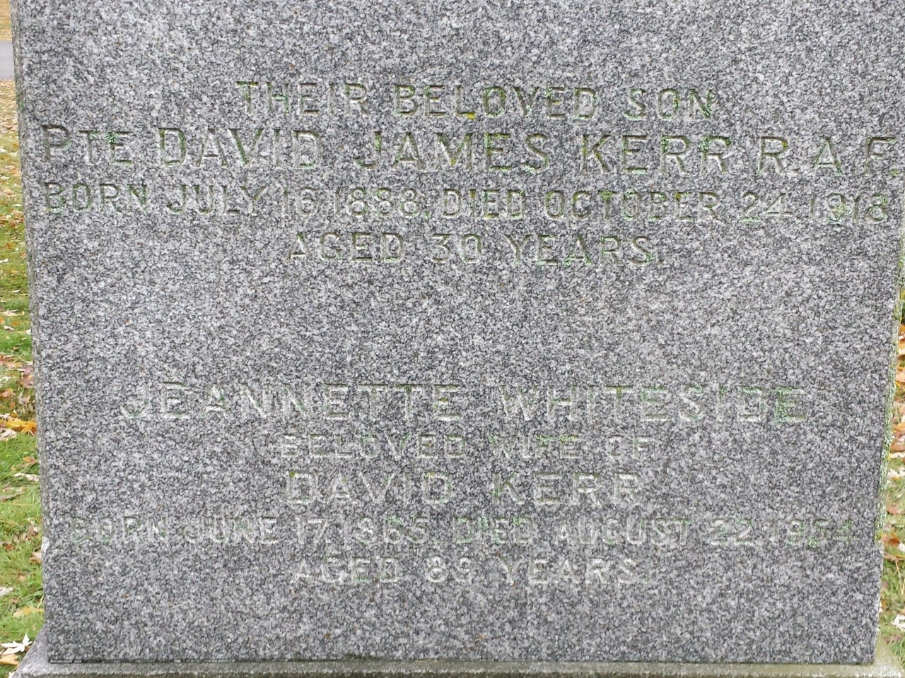Headstone for David James Kerr, courtesy of Islington and FindaGrave.com