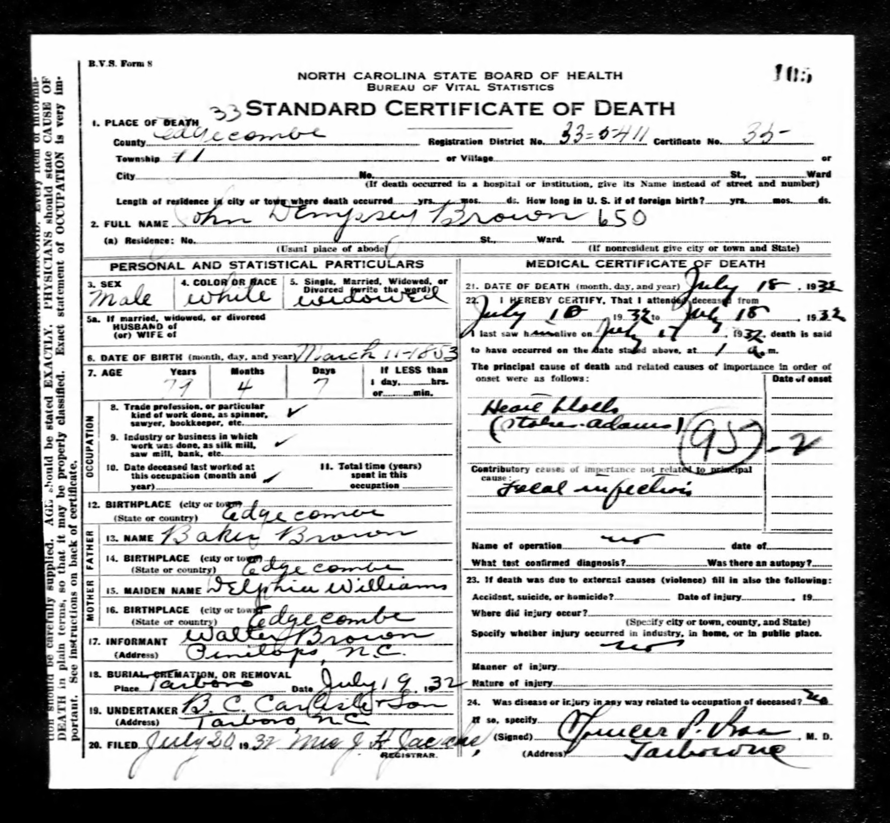 John dempsey brown 1853 1932 find a grave memorial north carolina death certificate john dempsey brown name john dempsey brown gender male race white age 79 birth date 11 mar 1853 birth place xflitez Gallery