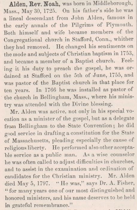Rev Noah Alden
