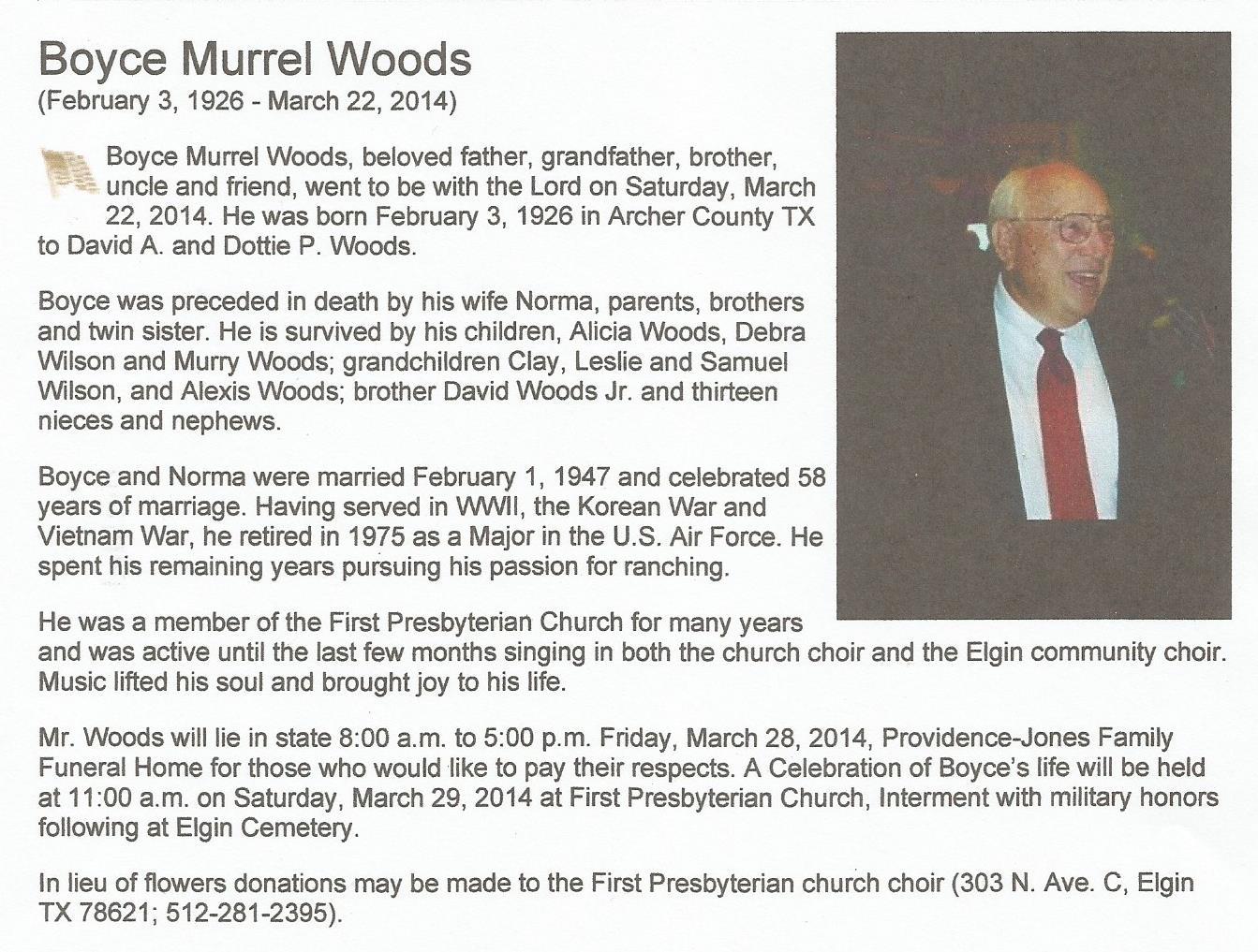 Boyce Murrel Woods (1926-2014) - Find A Grave Memorial