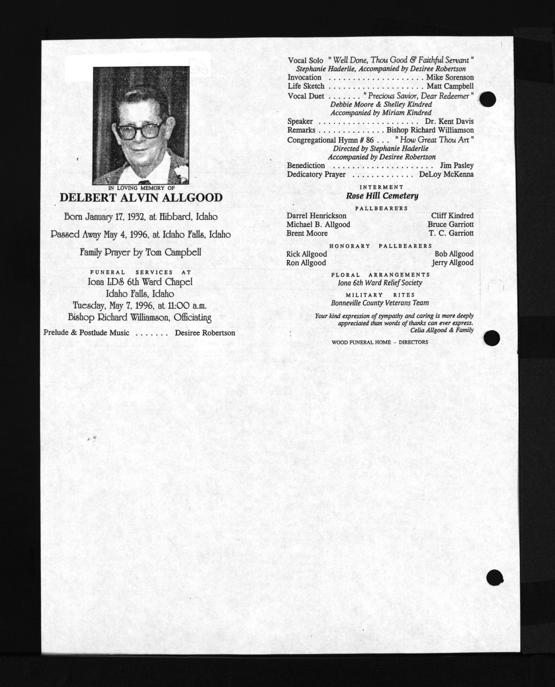 Delbert Alvin Allgood (1932-1996) - Find A Grave Memorial