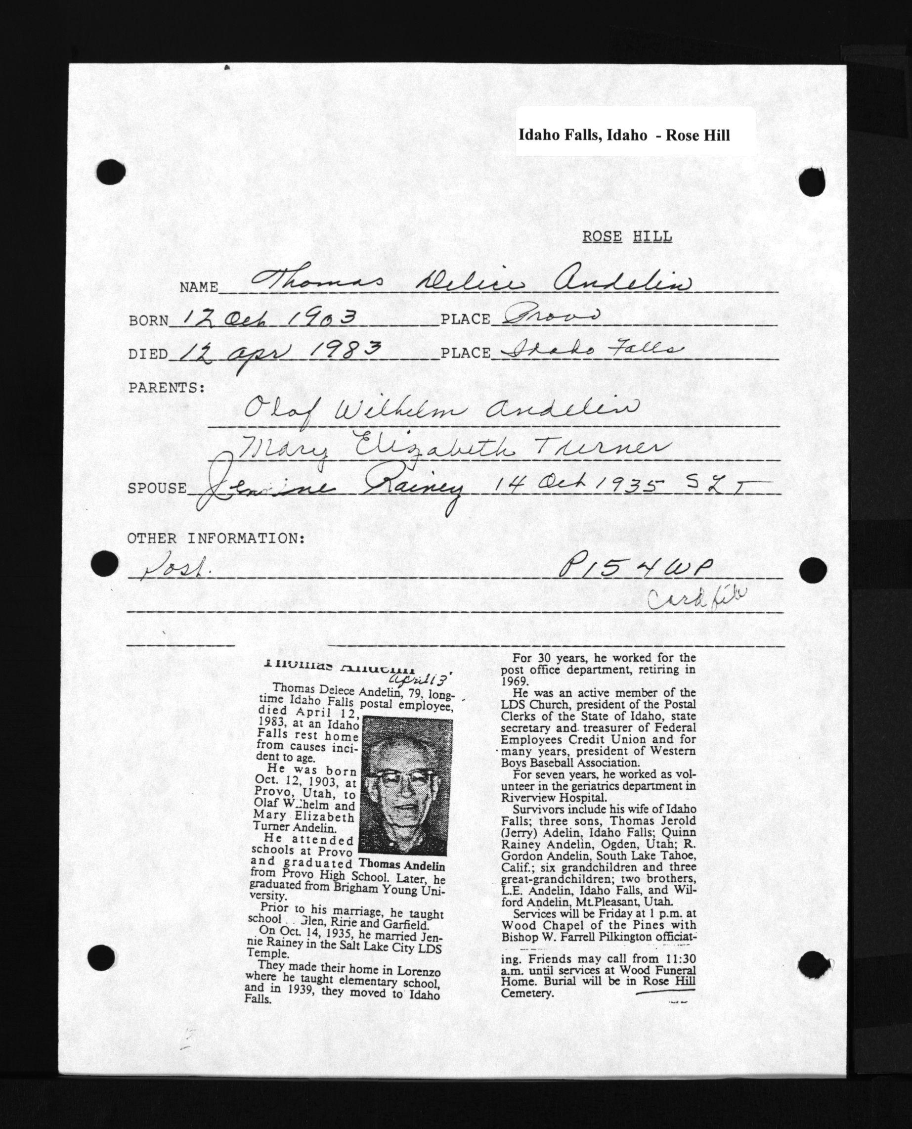 Thomas Delice Andelin (1903-1983) - Find A Grave Memorial