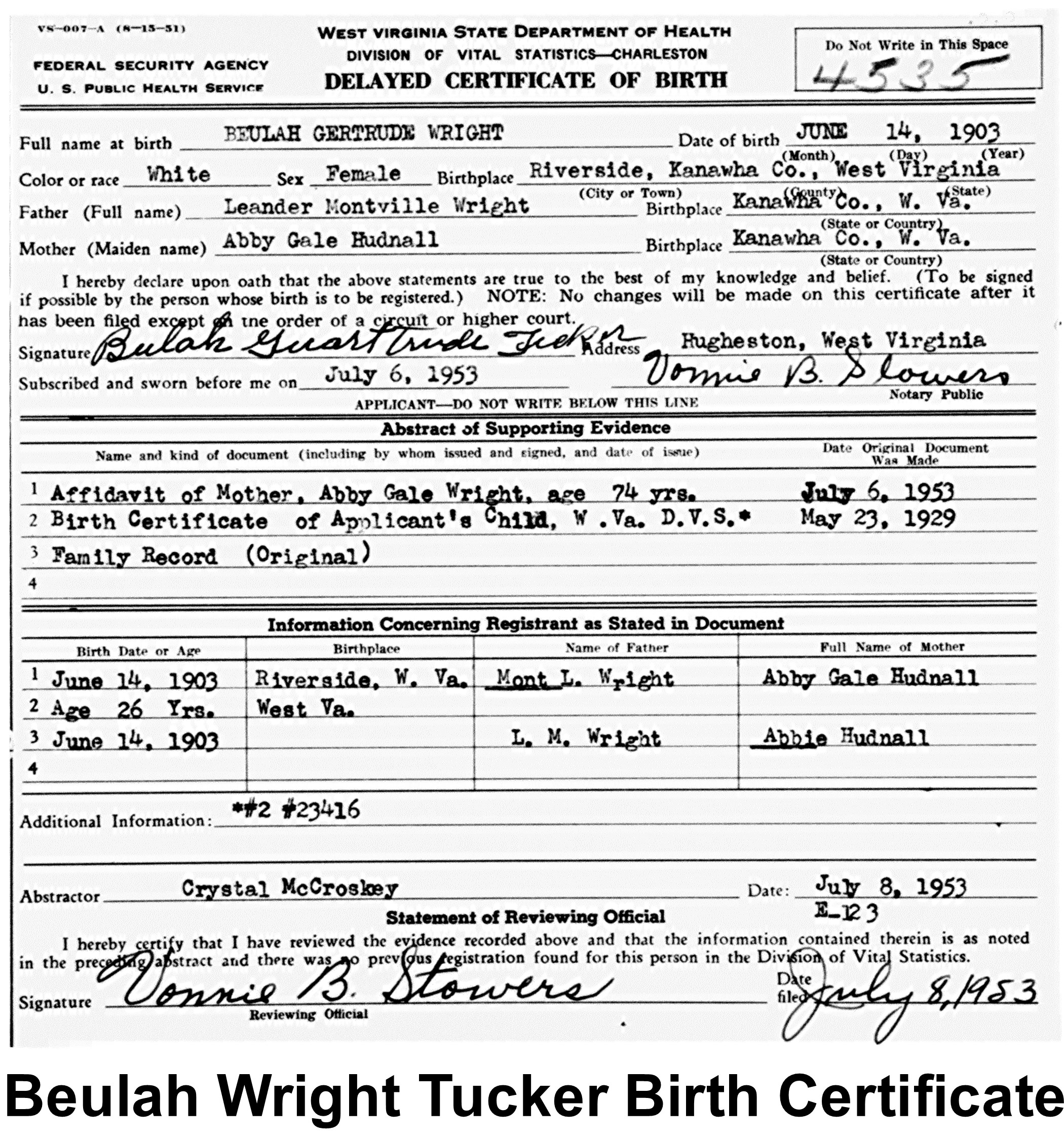 Beulah gertrude wright tucker 1903 1973 find a grave memorial bwest virginia delayed birth certificateb 4535 name beulah gertrude wright gender female birth date 14 jun 1903 birth place riverside aiddatafo Gallery