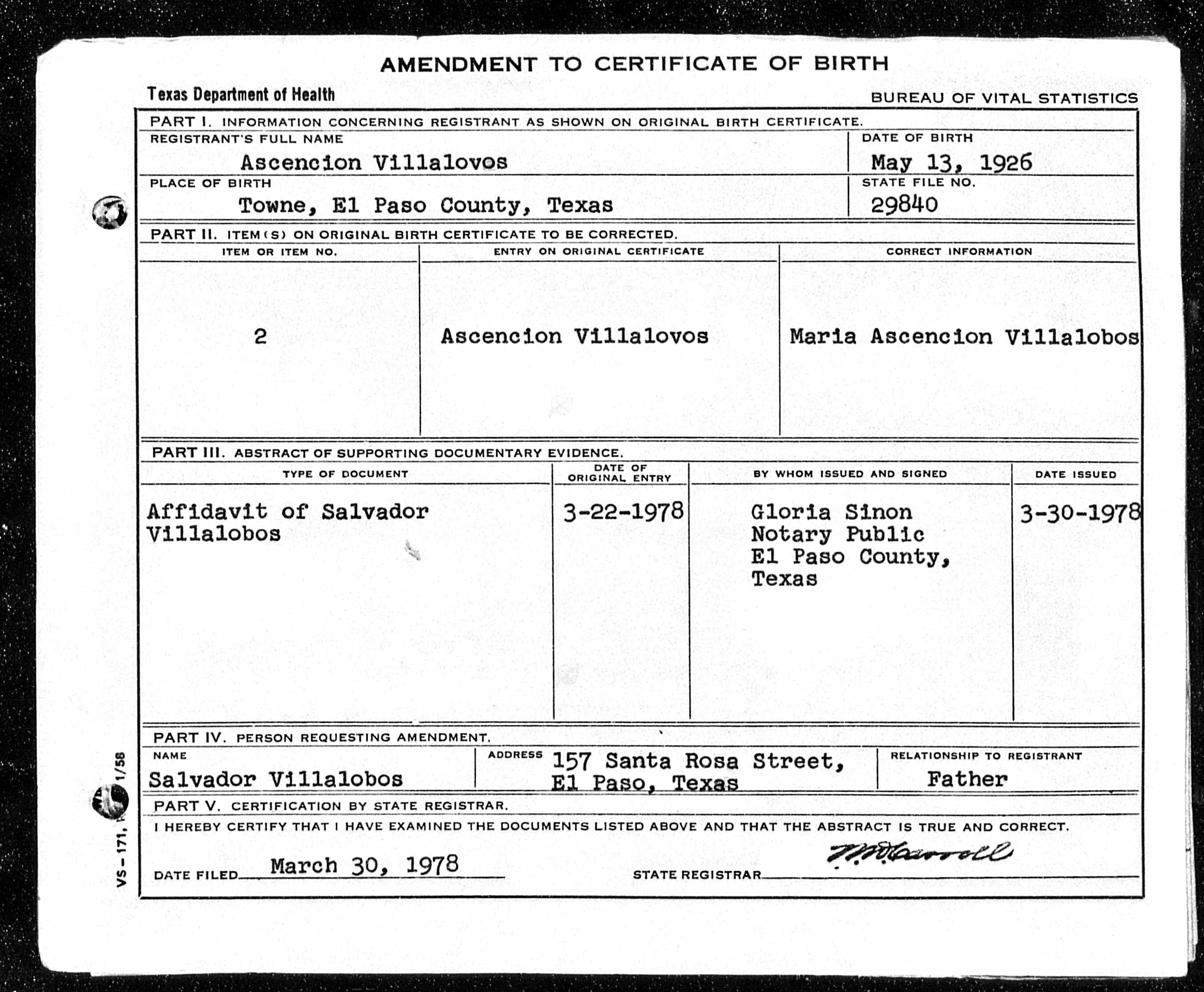 Maria acencion chonita villalobos aldaco 1923 2013 find a maria ascencion villalobos amended birth certificate with correct name and birthdate witnessed by her father salvador aiddatafo Images