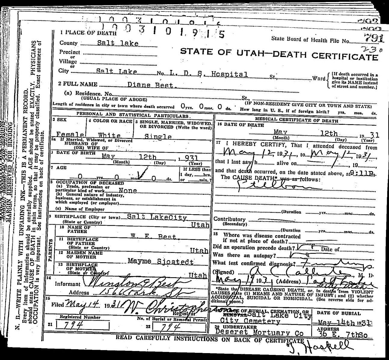 Diane best 1931 1931 find a grave memorial diane best 12 may 1931 to 12 may 1931 burial 14 may 1931 state of utah death certificate 1betcityfo Choice Image