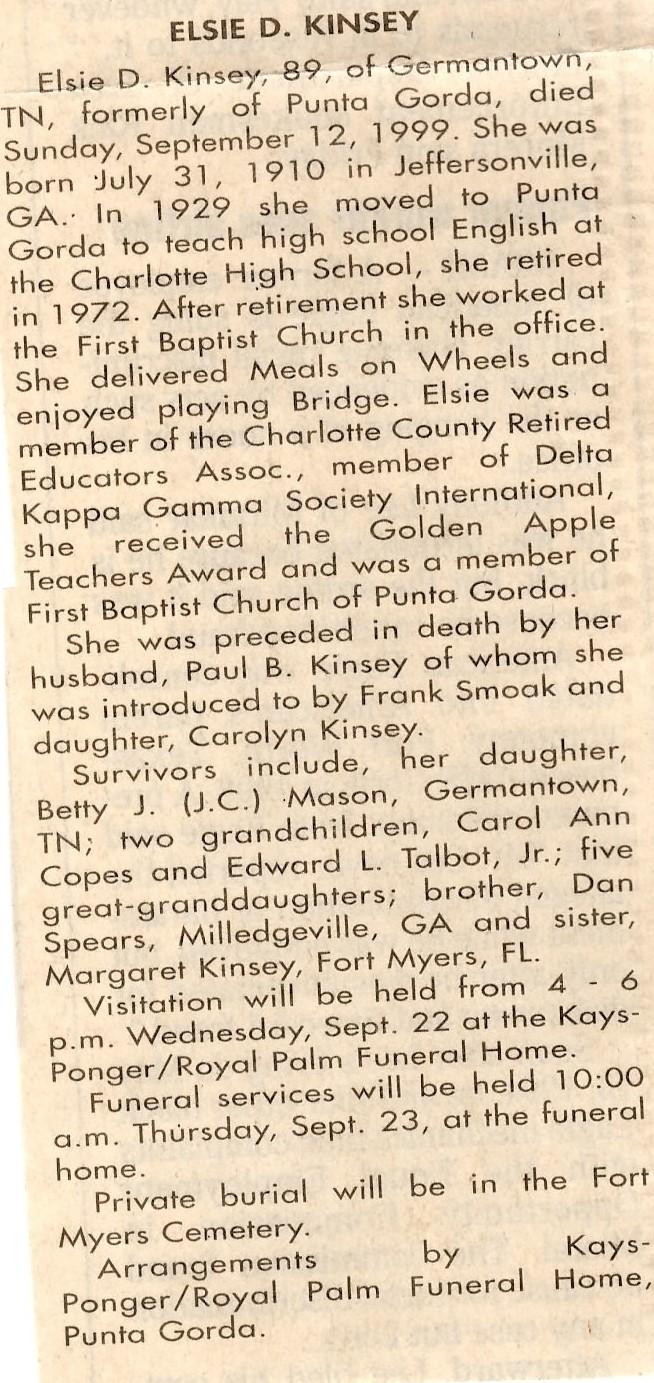Elsie D. <i>Spears</i> Kinsey