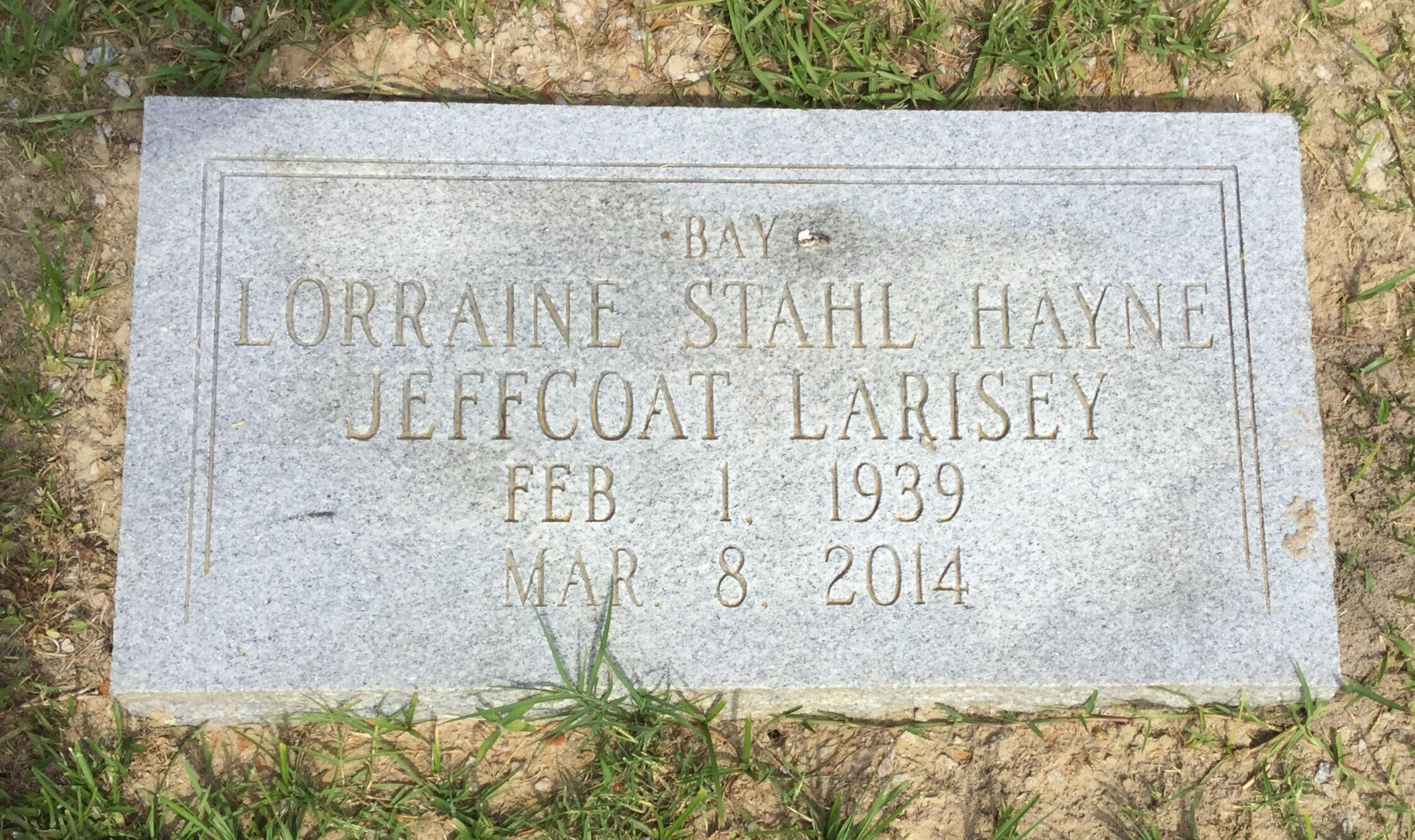 Lorraine Stahl Bay <i>Hayne</i> Larisey