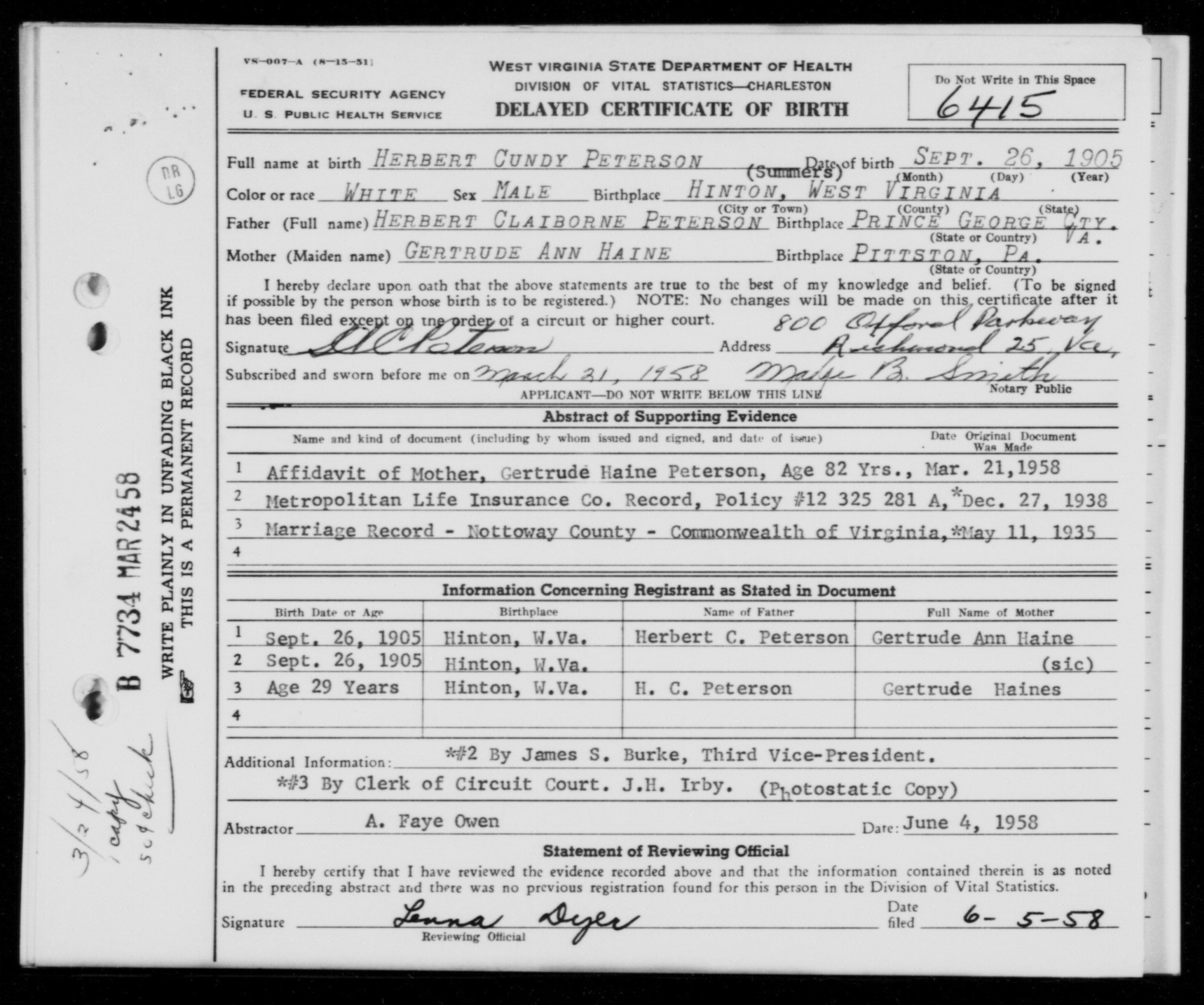 Herbert cundy peterson 1905 1981 find a grave memorial 26 sep 1905 hinton summers county wv birth certificate for herbert cundy peterson aiddatafo Gallery