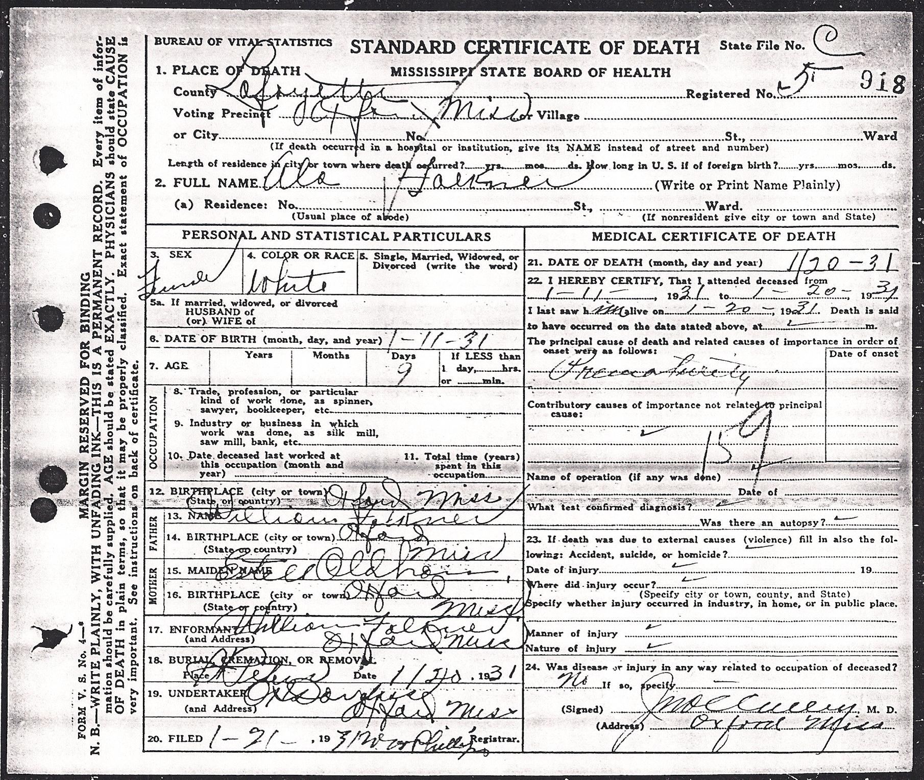 Alabama faulkner 1931 1931 find a grave memorial 1931 01 20 alabama faulkner death certificate positive microfilm image aiddatafo Images