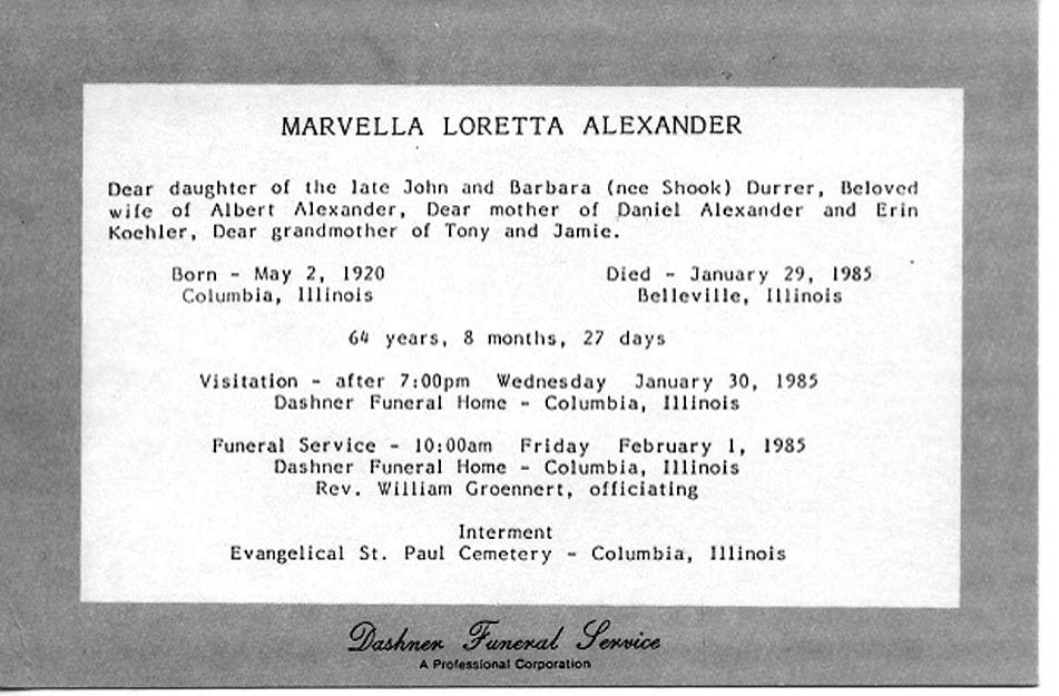 Marvella Loretta <i>Durrer</i> Alexander