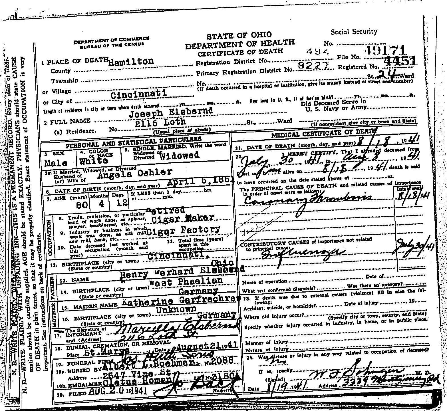Joseph elsbernd 1861 1941 find a grave memorial ohio state death certificate for joseph elsbernd born april 6 1861 in cincinnati died aug 18 1941 in cincinnati father henry gerhard elsbernd mother aiddatafo Gallery
