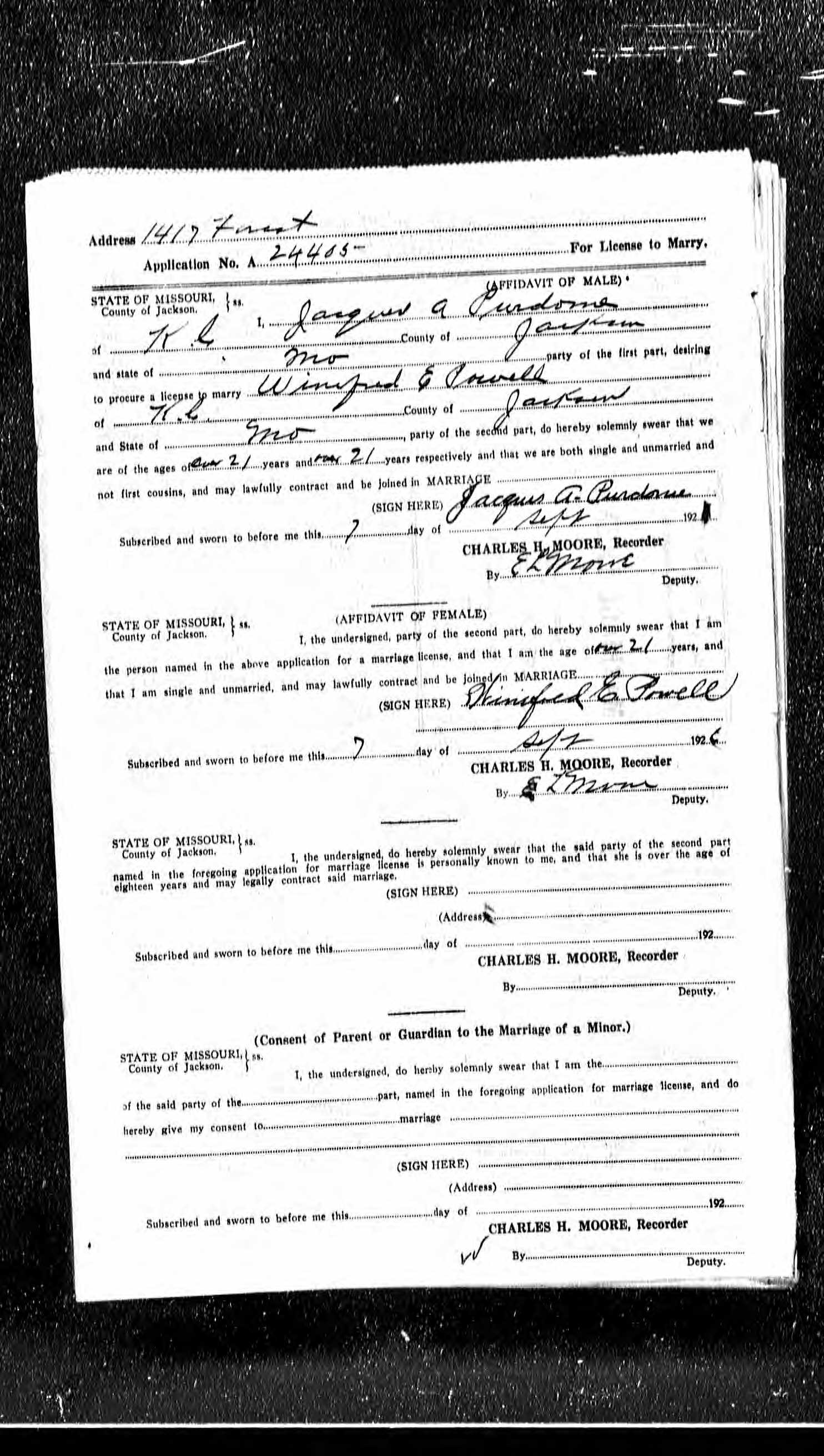 Jacques athel james purdom purdome 1898 1961 find a grave memorial the application for a marriage license filed by jacques purdome and winifred powell on september 7 1926 in kansas city jackson county missouri aiddatafo Choice Image