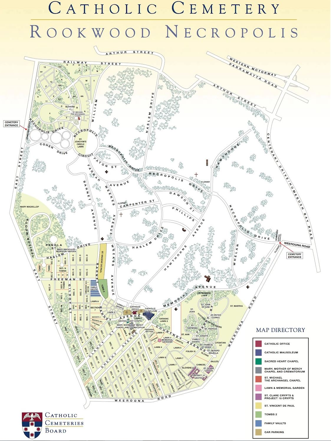 Rookwood Cemetery Map Rookwood Catholic Cemeteries and Crematoria in Rookwood, New South  Rookwood Cemetery Map