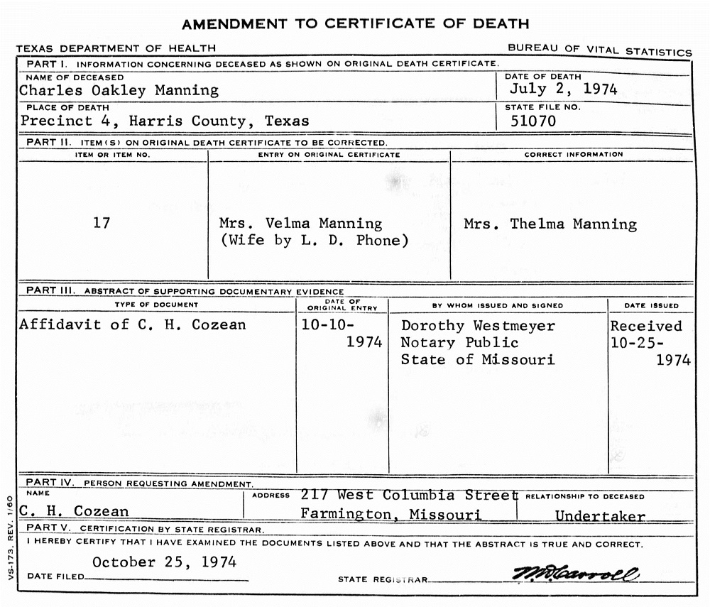 Charles oakley manning 1929 1974 find a grave memorial texas death certificates name charles oakley manning birth date 16 feb 1929 birth place tennessee gender male race white residence saint louis aiddatafo Images
