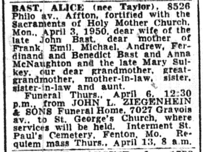 Alice <i>Taylor</i> Bast