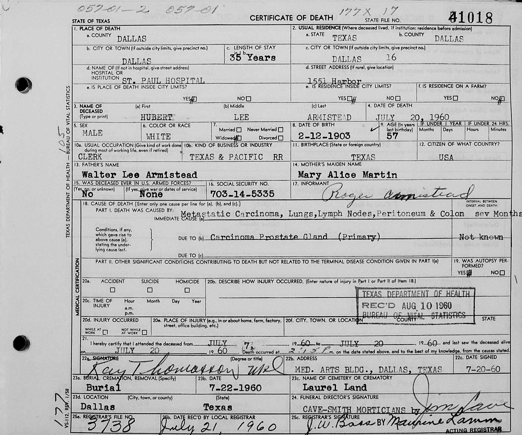 Hubert lee armistead 1903 1960 find a grave memorial name hubert lee armistead event type death event date 20 jul 1960 event place dallas dallas texas united states gender male marital status widowed aiddatafo Image collections