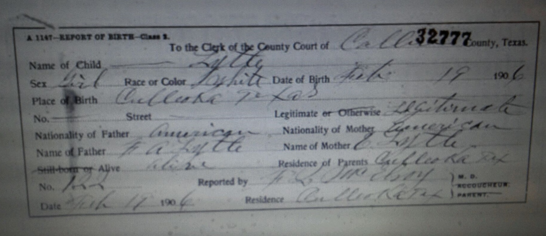 Minnie irine lytle 1906 1906 find a grave memorial birth certificate aiddatafo Gallery
