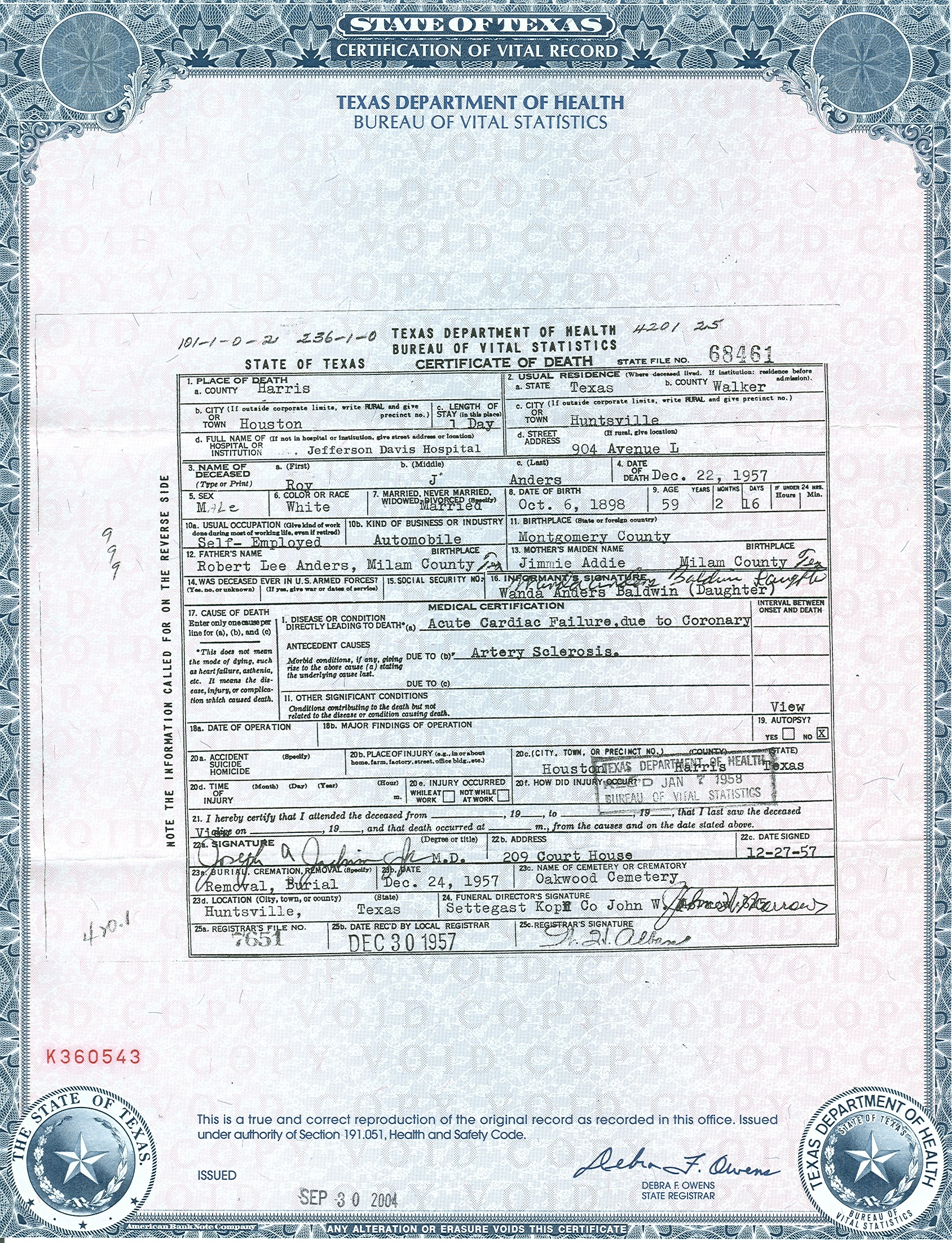 Roy jacob anders sr 1898 1957 find a grave memorial view original death certificate aiddatafo Gallery