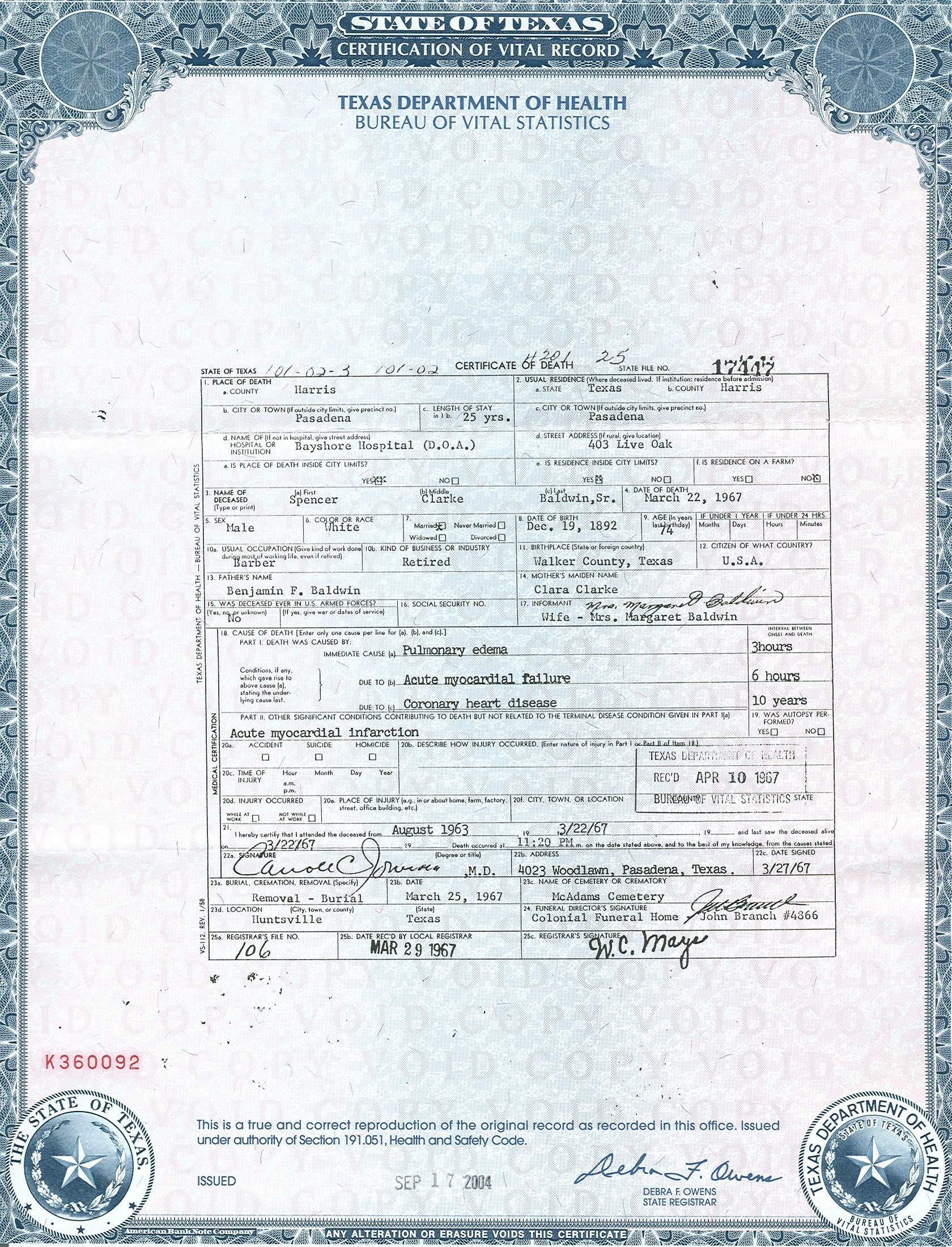 Birth certificate california pasadena choice image certificate spencer clarke baldwin sr 1892 1967 find a grave memorial leave a flower yadclub choice image xflitez Choice Image