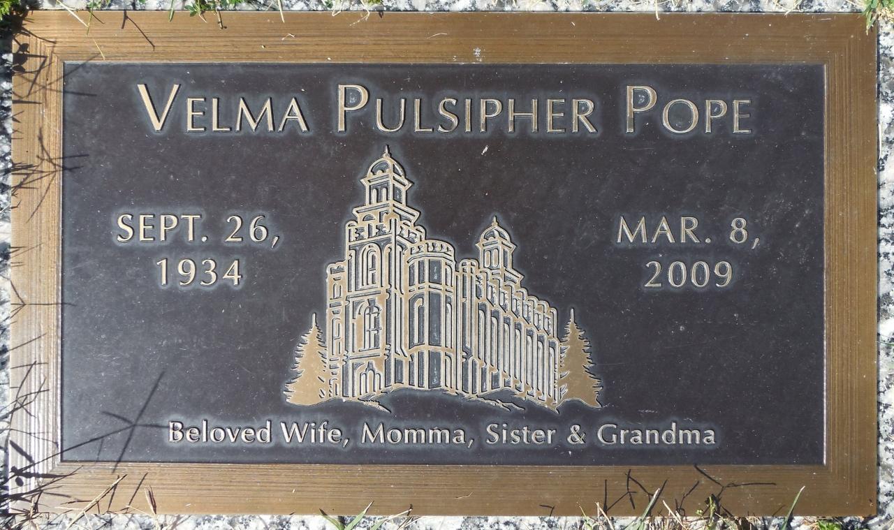 Velma <i>Pulsipher</i> Pope