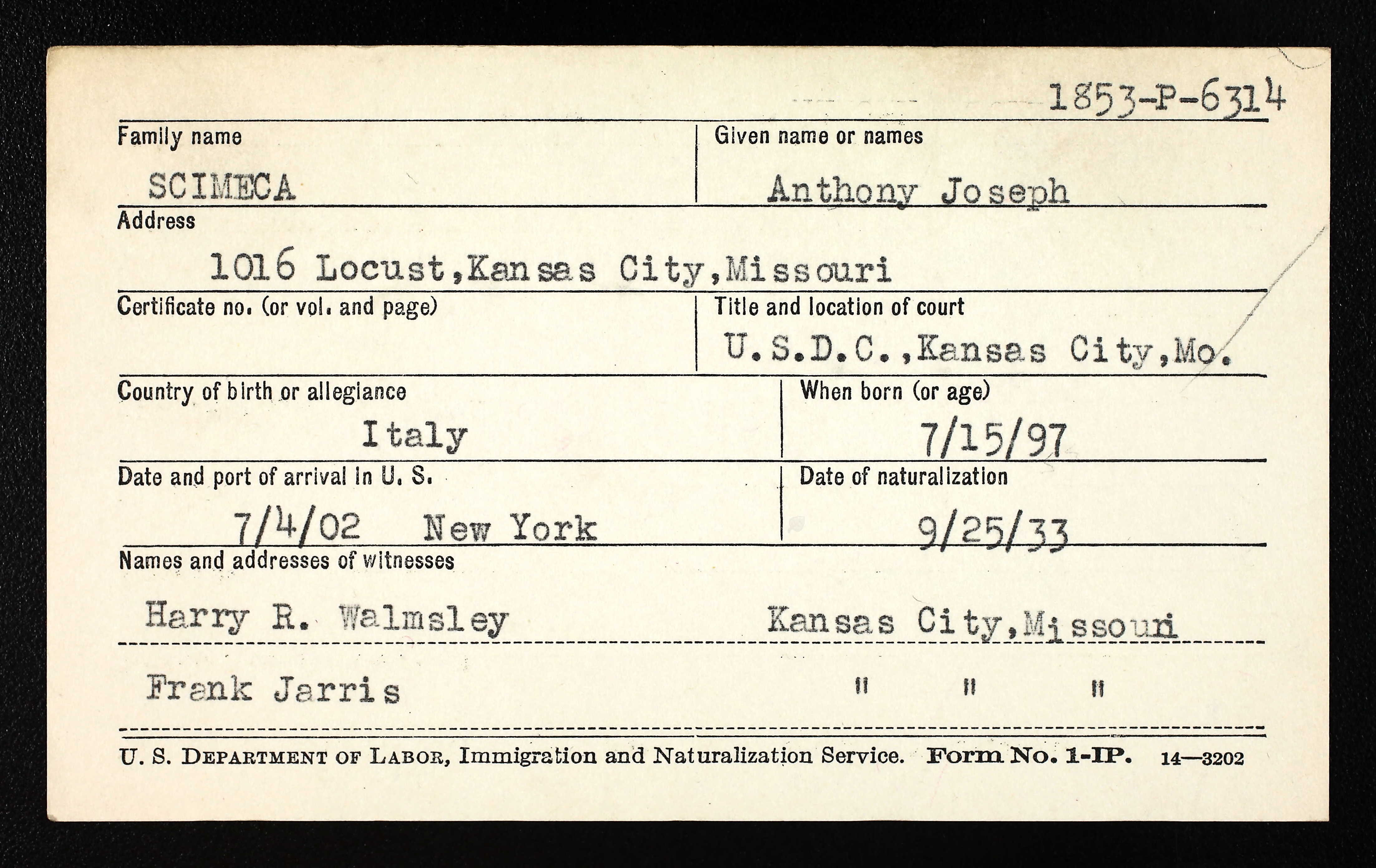 Dr anthony joseph scimeca 1897 1953 find a grave memorial dr scimeca was naturalized on september 25 1933 in kansas city jackson county missouri aiddatafo Choice Image