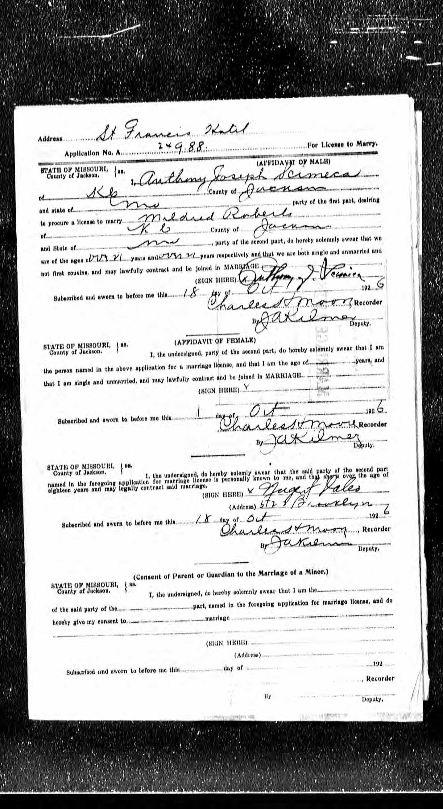 Dr anthony joseph scimeca 1897 1953 find a grave memorial the application for a marriage license filed by anthony joseph scimeca and mildred roberts on october 18 1926 in jackson county missouri aiddatafo Choice Image
