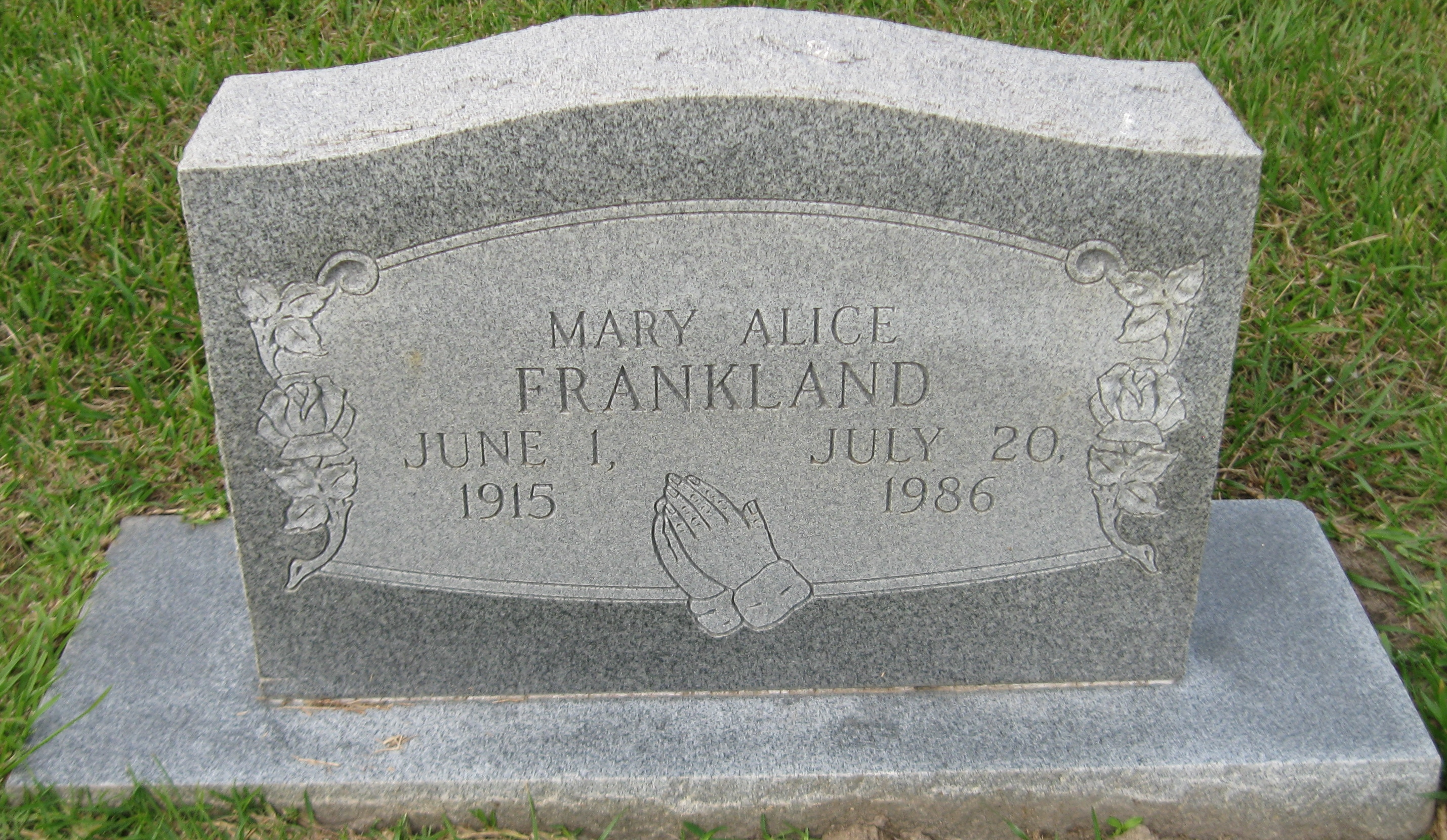 Mary Alice <i>Saunders</i> Frankland