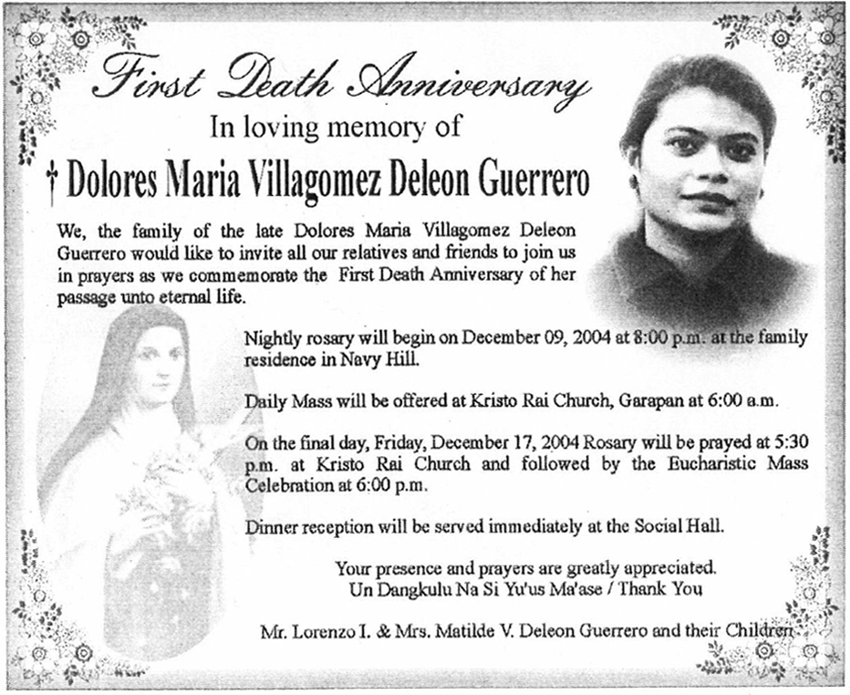 Anniversary Rosary Announcement As It Appeared In The Marianas Variety  (Saipan, Northern Mariana Islands) On December 15, 2004, On Page 17.