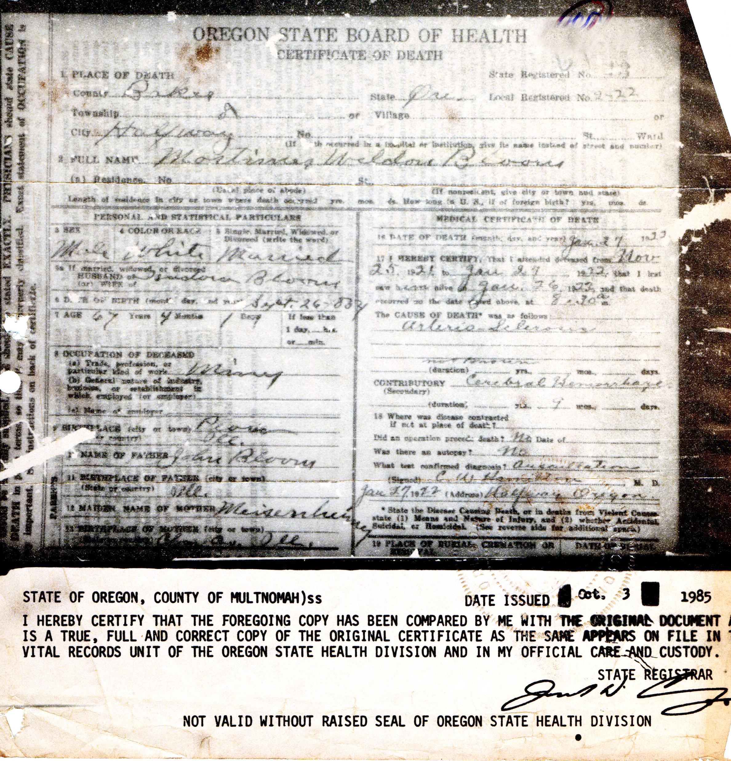 Mortimer weldon bloom 1864 1922 find a grave memorial death certificate 1betcityfo Choice Image